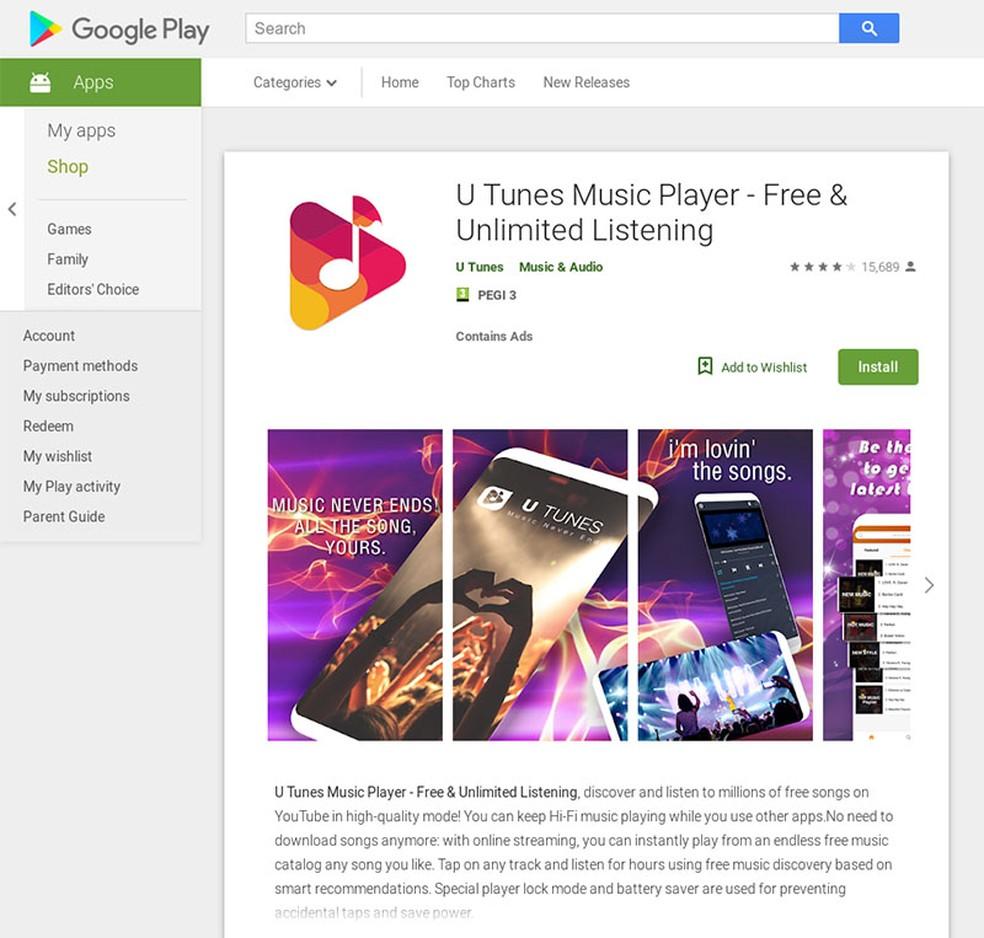 Aplicativo U Tunes teve cinco milhões de downloads antes de ser removido da Play Store. — Foto:  Reprodução/Avast