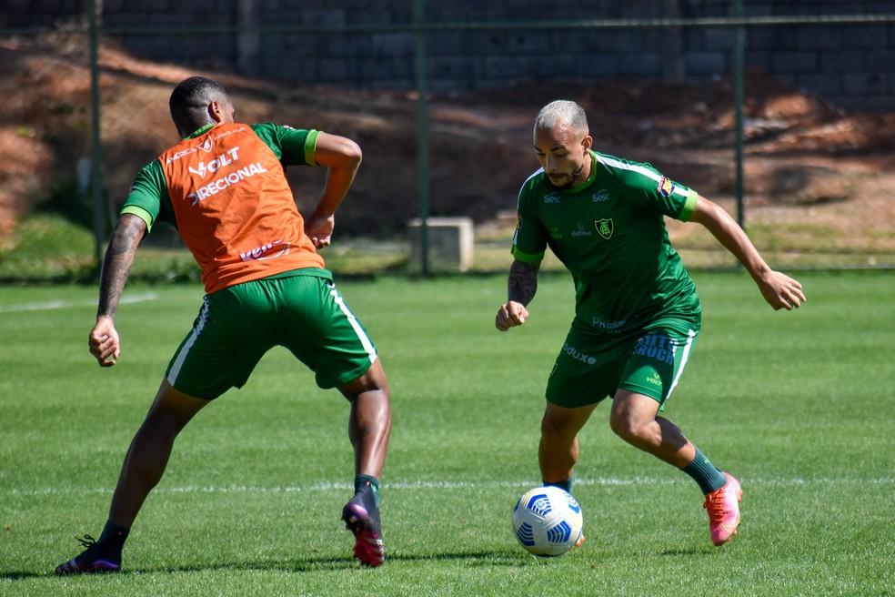 Atacante Rodolfo tem chance de entrar no time titular para jogo com o Bragantino — Foto: João Zebral / América