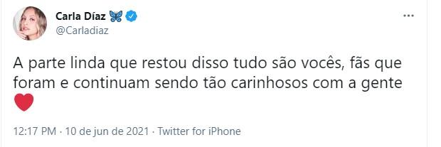 Carla Diaz se pronuncia (Foto: Reprodução/Twitter)