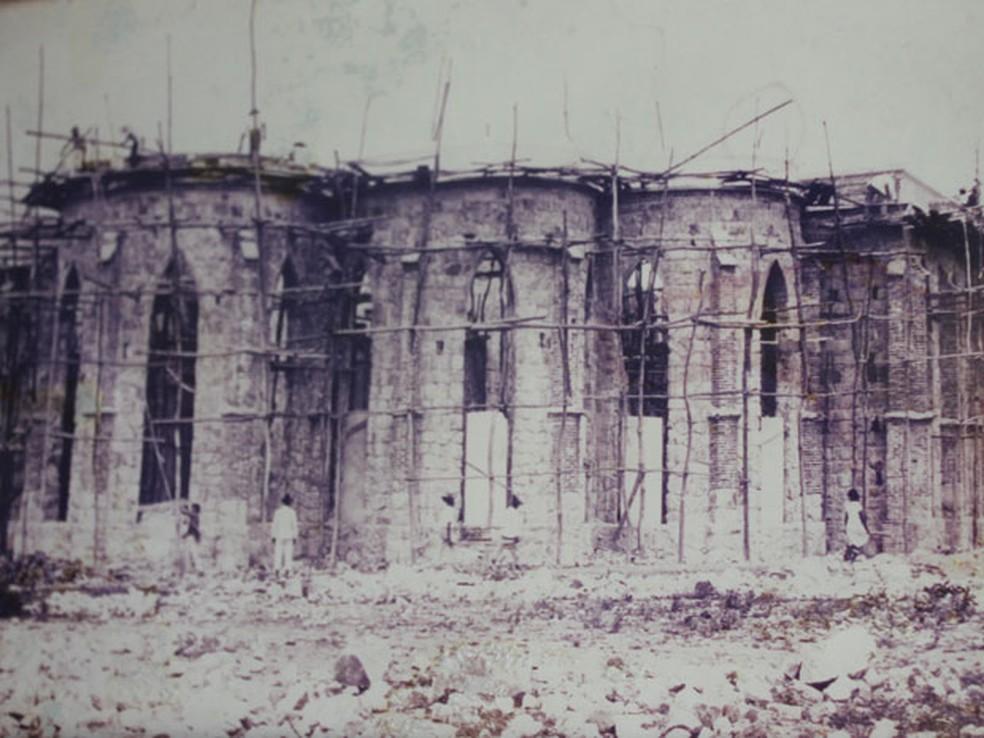 Registro da construção da Catedral no ano de 1929. — Foto: Reprodução