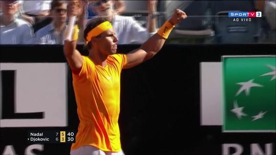 Em jogaço, Djokovic vende caro, mas Nadal garante vaga na final de Roma
