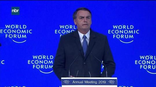 """""""Vamos resgatar nossos valores e abrir nossa economia"""", diz Bolsonaro em Davos"""