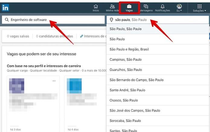 Pesquise por vagas no LinkedIn (Foto: Reprodução/Helito Bijora)