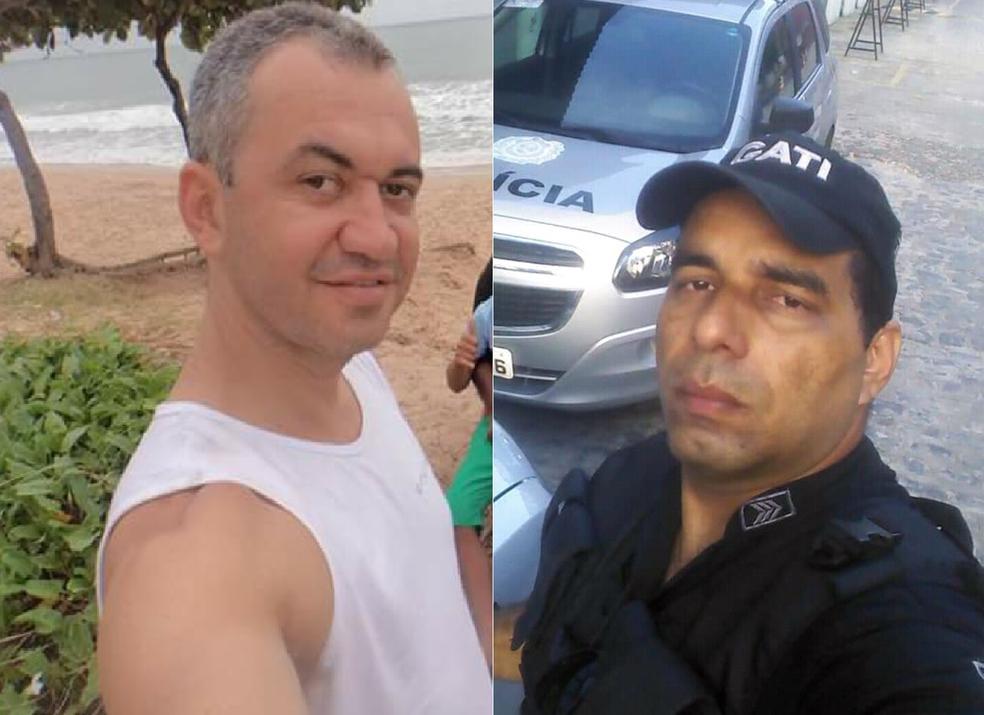 O cabo Adeildo (à esquerda) e o sargento Enéas (à direita) morreram após serem atropelados por trem do Metrô (Foto: Reprodução/Arquivo Pessoal)