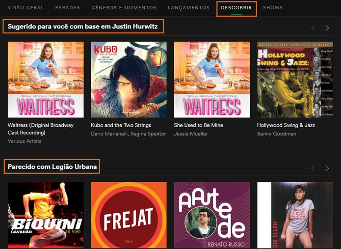 Veja as sugestões baseadas no que você ouviu no Spotify (Foto: Reprodução/Barbara Mannara)