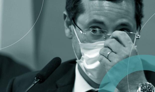 ex-secretário especial de Comunicação Social Fabio Wajngarten em audiência na CPI da Covid-19 do Senado