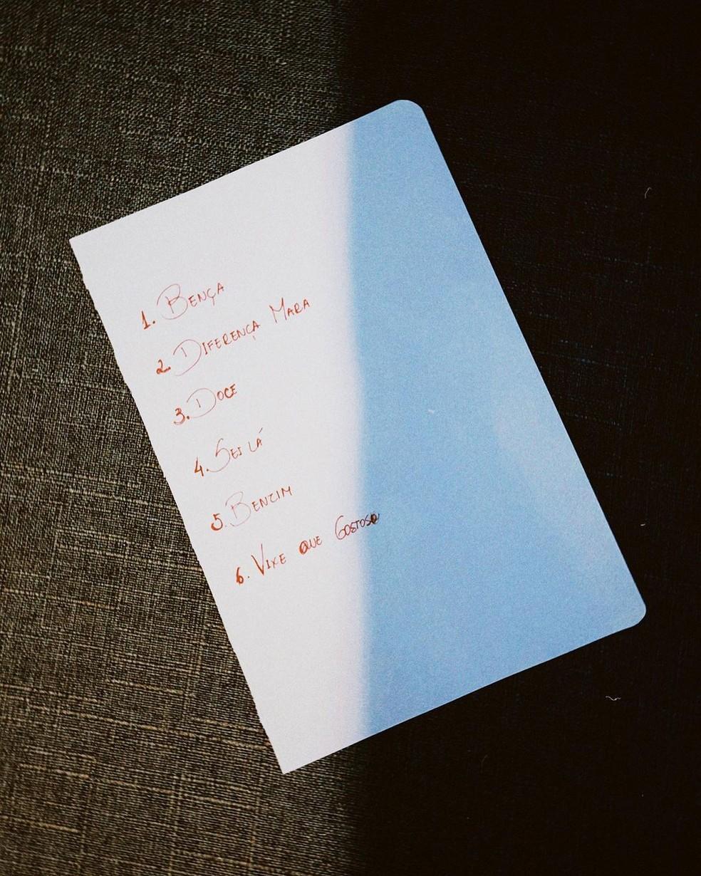 Juliette libera lista com nomes de 6 músicas de seu primeiro EP — Foto: Reprodução/Instagram