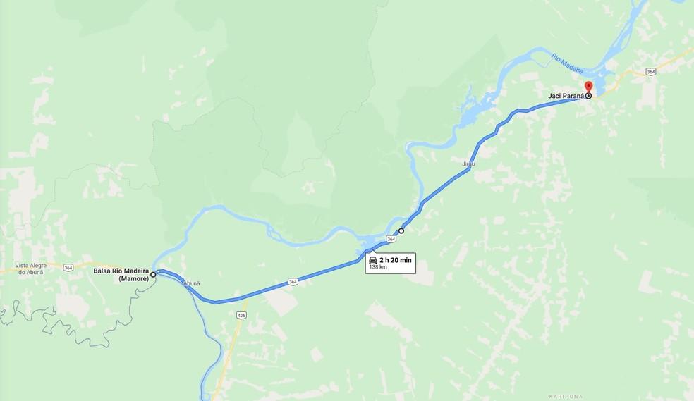 Obra na BR-364 será entre Jaci e a balsa do Madeira — Foto: Google Maps/Reprodução