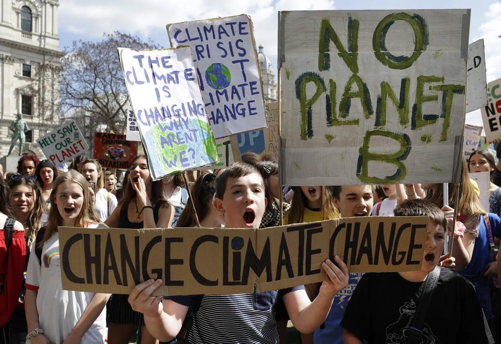 Greve pelo Clima na Inglaterra: manifestantes seguram cartazes com frases em prol do meio ambiente nesta sexta (24). — Foto: Kirsty Wigglesworth/AP