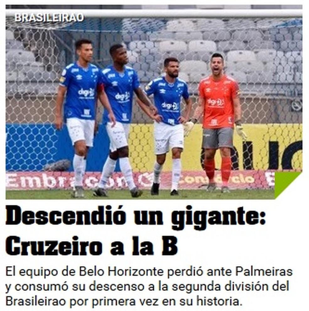 Olé sobre a queda do Cruzeiro — Foto: Reprodução