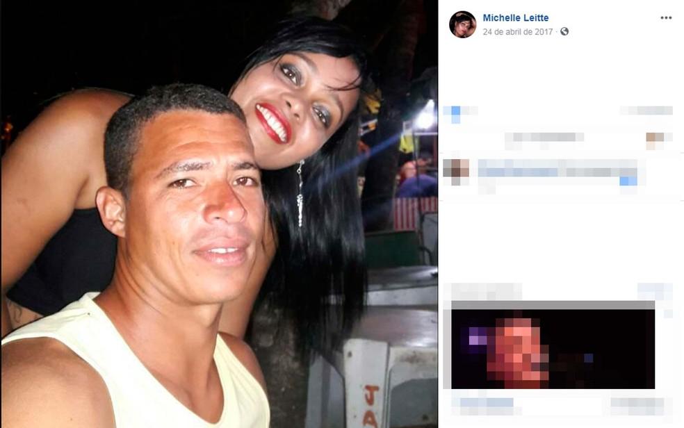 Adimilson Pereira junto a Michele, mulher que ele é suspeito de matar no sul da Bahia (Foto: Reprodução/Facebook)