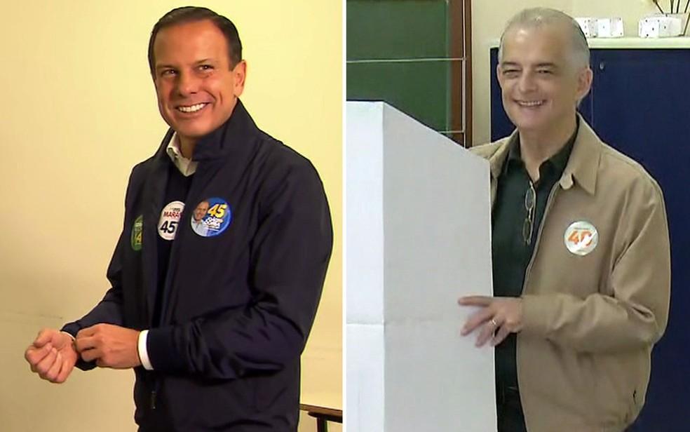 João Doria (PSDB) e Márcio França (PSB) vão disputar o segundo turno em São Paulo — Foto: TV Globo/Reprodução