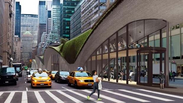 O estúdio Ames sugere criar uma ponte com jardim suspenso, academia, teatro e supermercado  (Foto: Divulgação/The Fisher Brothers/Beyond The Park Avenue Centerline Contest)