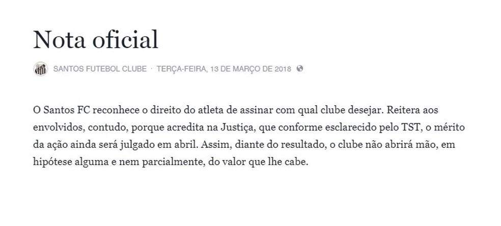 Nota oficial do Santos sobre Zeca (Foto: Reprodução)