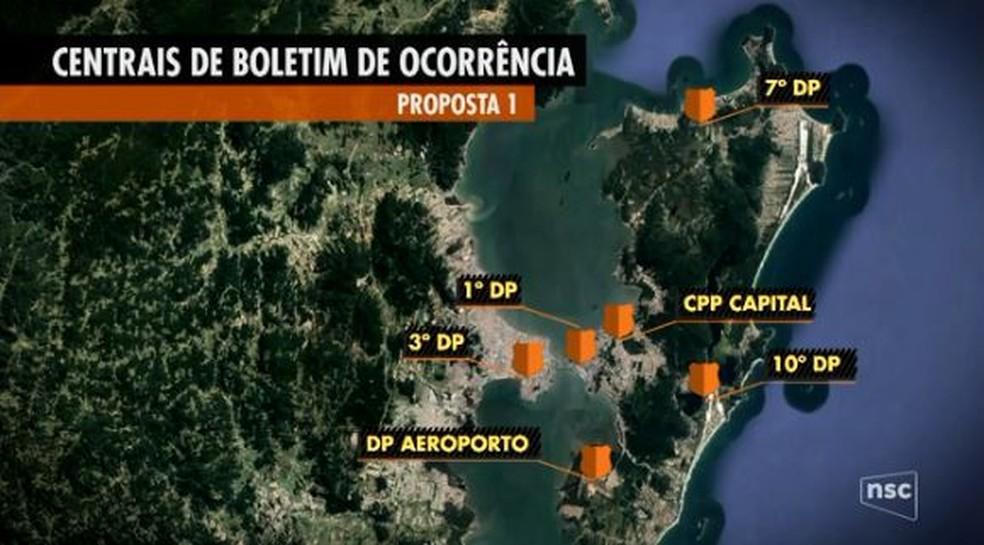 e2df6c9caf ... Mapa mostra seis centrais de atendimento 24 horas — Foto  Reprodução   NSC TV