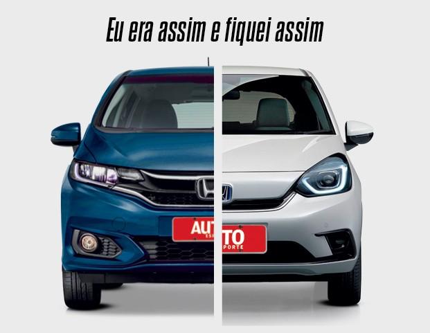 Honda FIt (quarta geração) - Os faróis agora têm luzes de LED em destaque. O ponto que mais mudou talvez seja a grade, que ficou mais fechada na versão híbrida e sem aquela barra cromada (Foto: Divulgação)