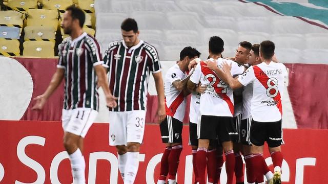 Montiel comemora gol sobre o Fluminense
