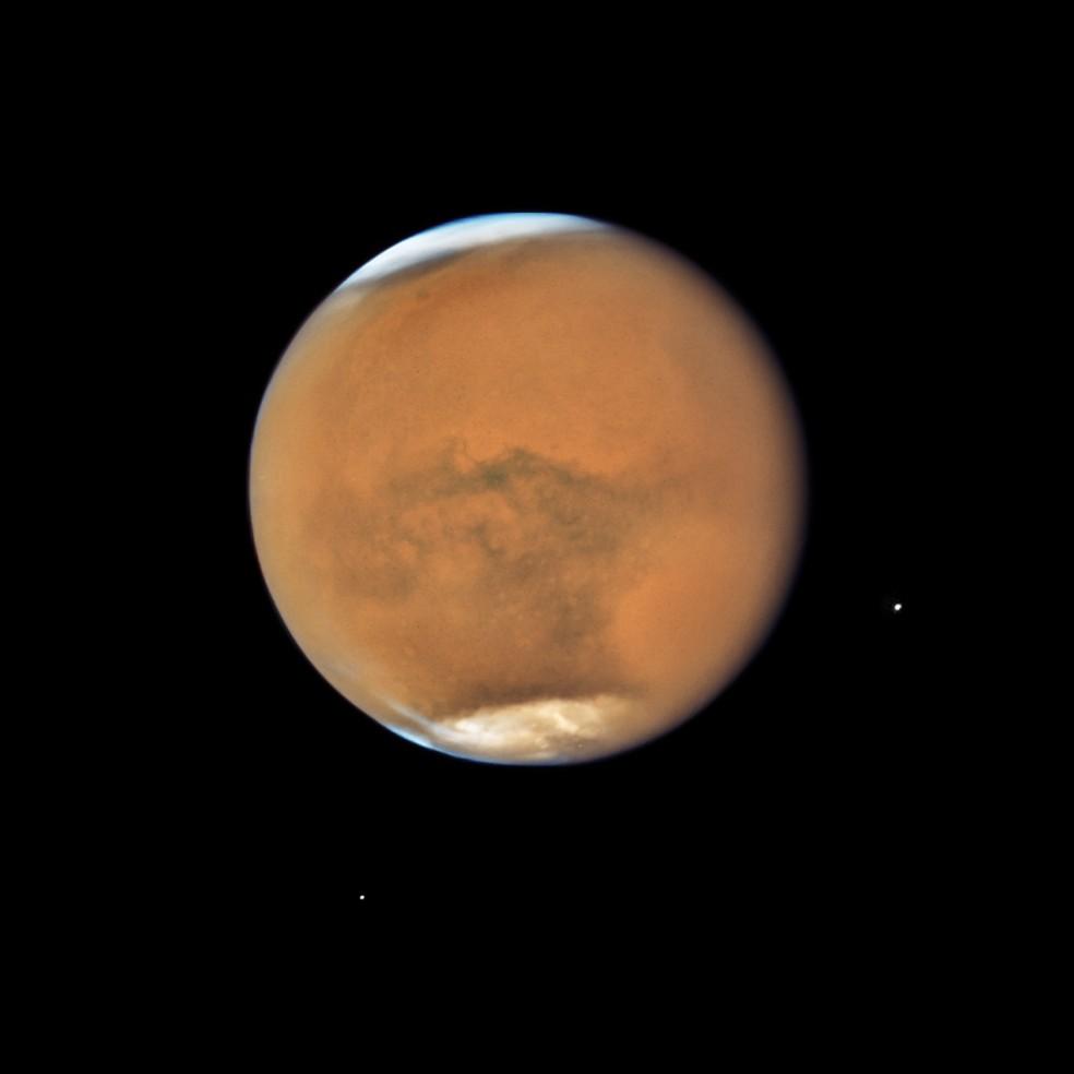 Marte em imagem feita pelo telescópio espacial Hubble em 18 de julho de 2018 (Foto:  NASA, ESA, and STScI)