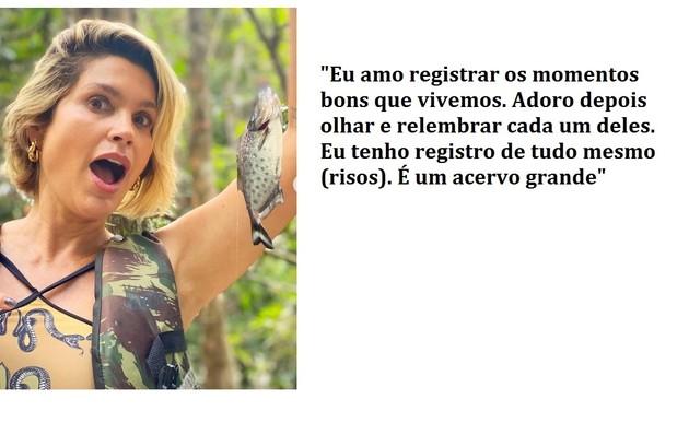 Flávia mostra que brincou com o peixe piranha durante a viagem à Amazônia e fala de seu acervo de imagens (Foto: Reprodução)