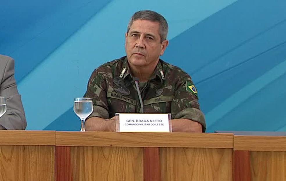 O general Walter Souza Braga Netto, durante entrevista nesta sexta-feira (16) no Planalto (Foto: Reprodução)
