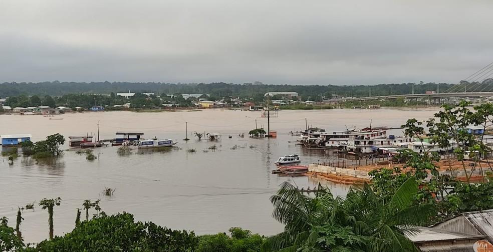 Rio Juruá está com 80 centímetros acima da cota de transbordo, que é de 13 metros — Foto: Gledisson Albano/Rede Amazônica Acre/arquivo