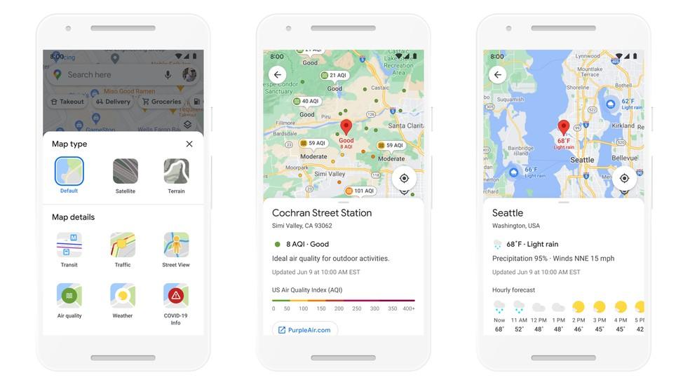 Google Maps vai mostrar previsão do tempo ao pesquisar por local. — Foto: Divulgação/Google