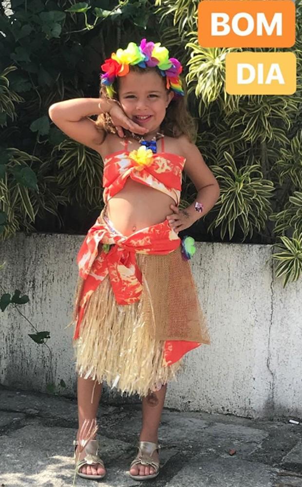 Duda se fantasiou de Moana para baile de Carnaval da escola (Foto: Reprodução/Instagram)