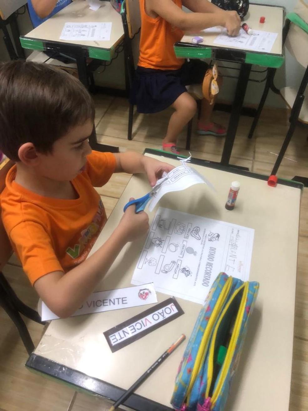 João Vicente tem 5 anos e esse é último ano dele na escola em Jaú  — Foto: Débora Barros / Arquivo pessoal