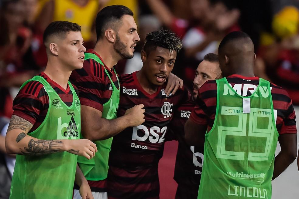 Bruno Henrique marcou dois gols e deixou o Flamengo em boa situação na decisão do Carioca — Foto: Alexandre Loureiro/BP Filmes