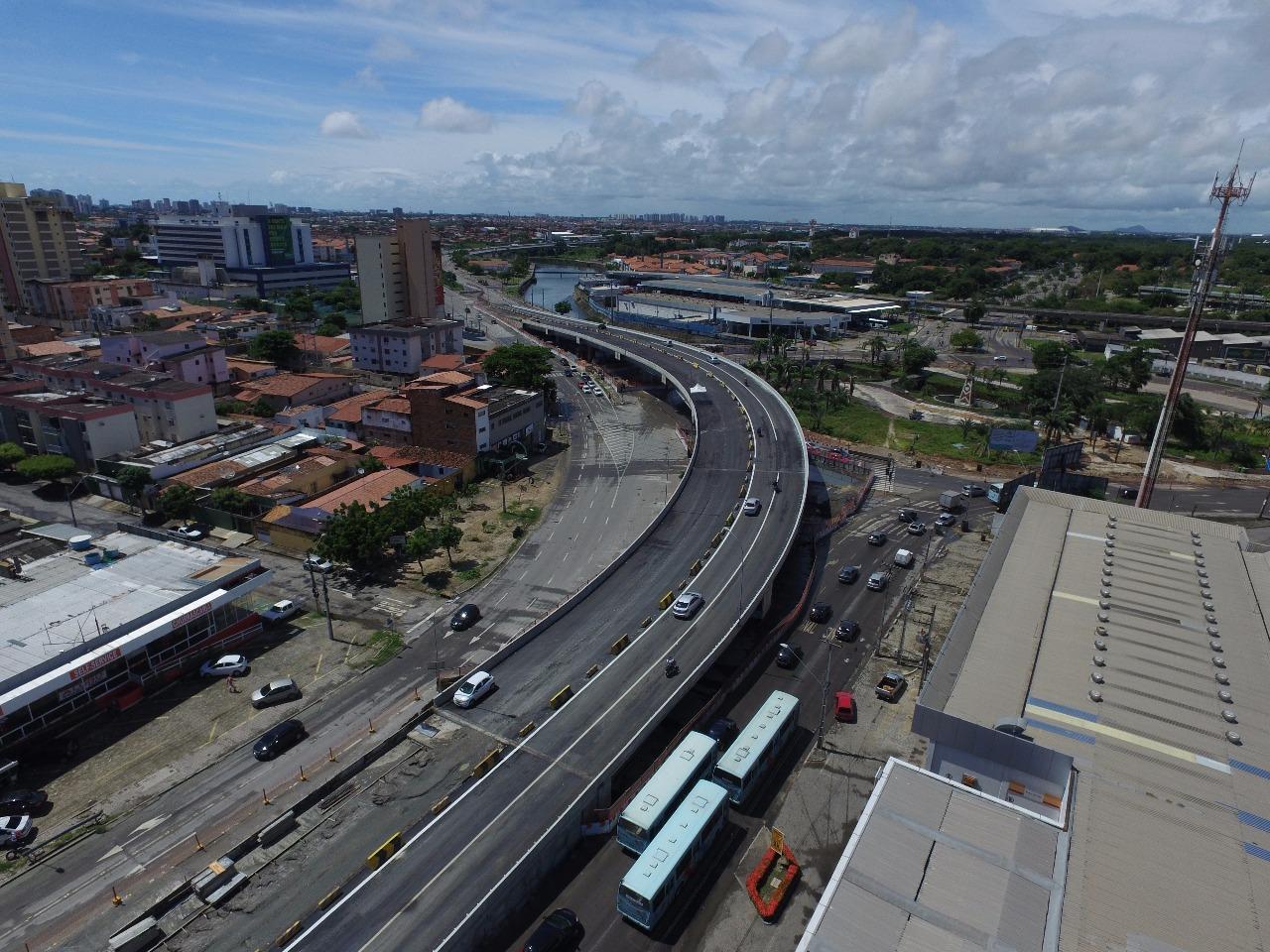 Tráfego na Avenida Aguanambi e novo viaduto serão liberados parcialmente em Fortaleza