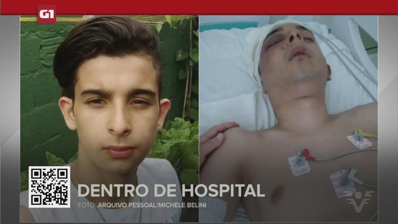 G1 em 1 minuto - Santos: Jovem fica paralisado ao ser agredido dentro de hospital