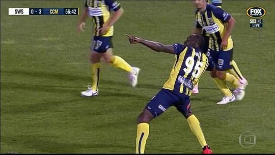 Usain Bolt marca pela primeira vez como jogador de futebol