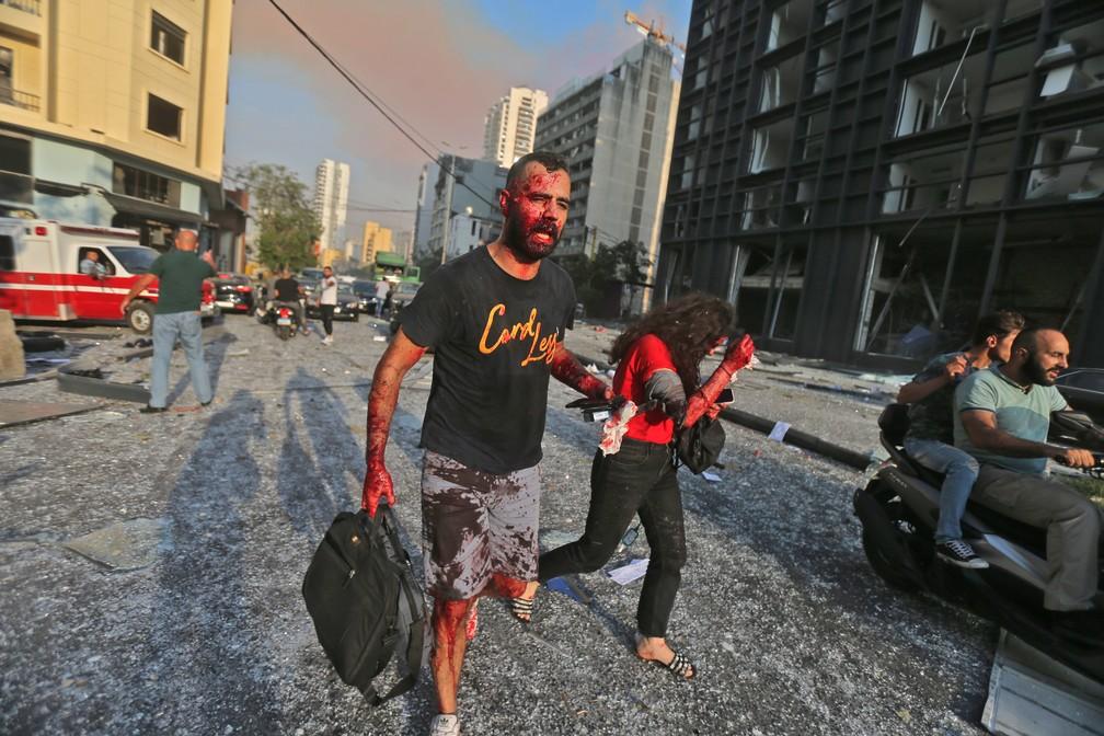 Feridos na explosão na zona portuária de Beirute, no Líbano — Foto: STR/AFP