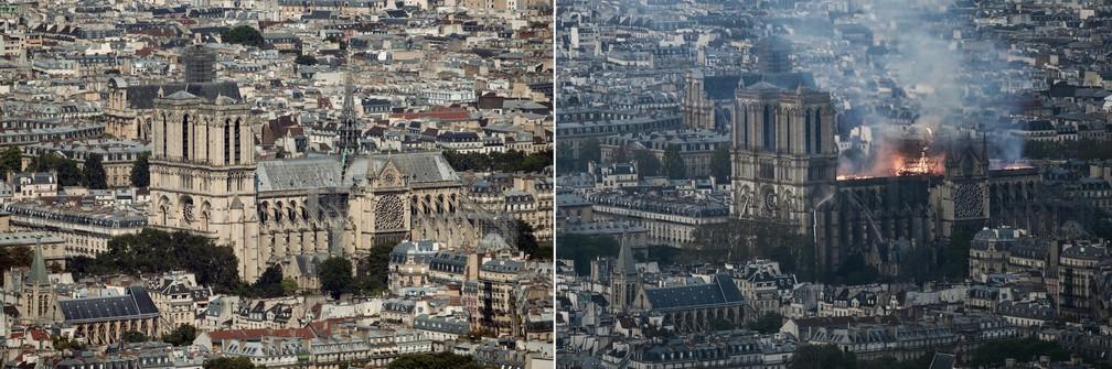 Combinação de fotos mostra a Catedral Notre-Dame, em Paris, antes e depois do incêndio — Foto: Philippe Lopez/AFP; Thomas Samson/AFP