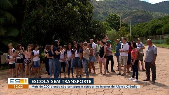 Falta de transporte escolar deixa mais de 200 alunos sem ir à aula em Afonso Cláudio, ES