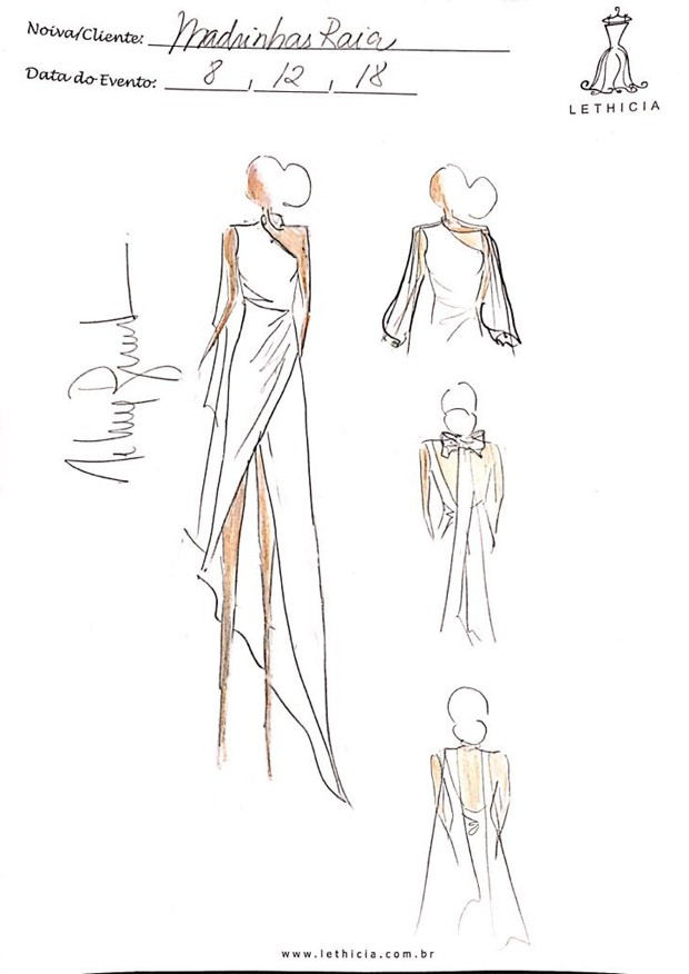 Croqui do vestido das daminhas (Foto: Reprodução)