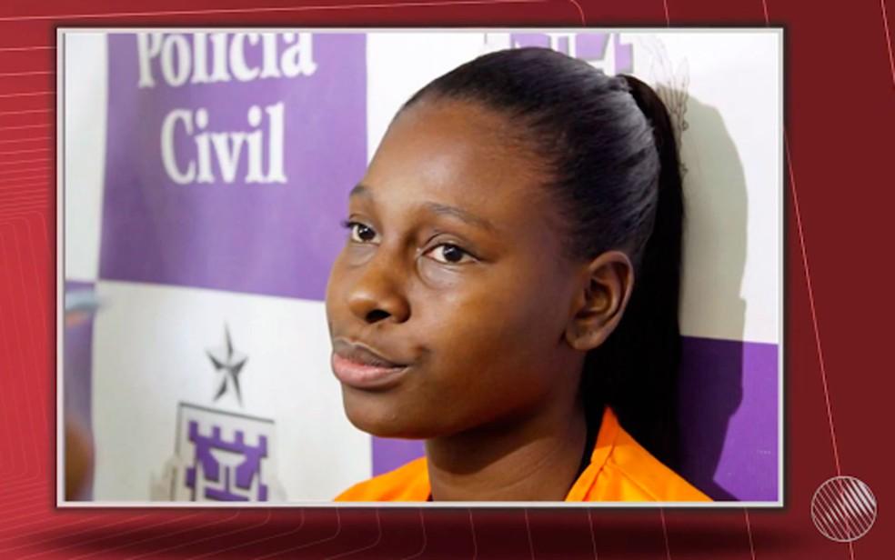 Aline confessou que matou a adolescente de 15 anos — Foto: Reprodução / TV Bahia