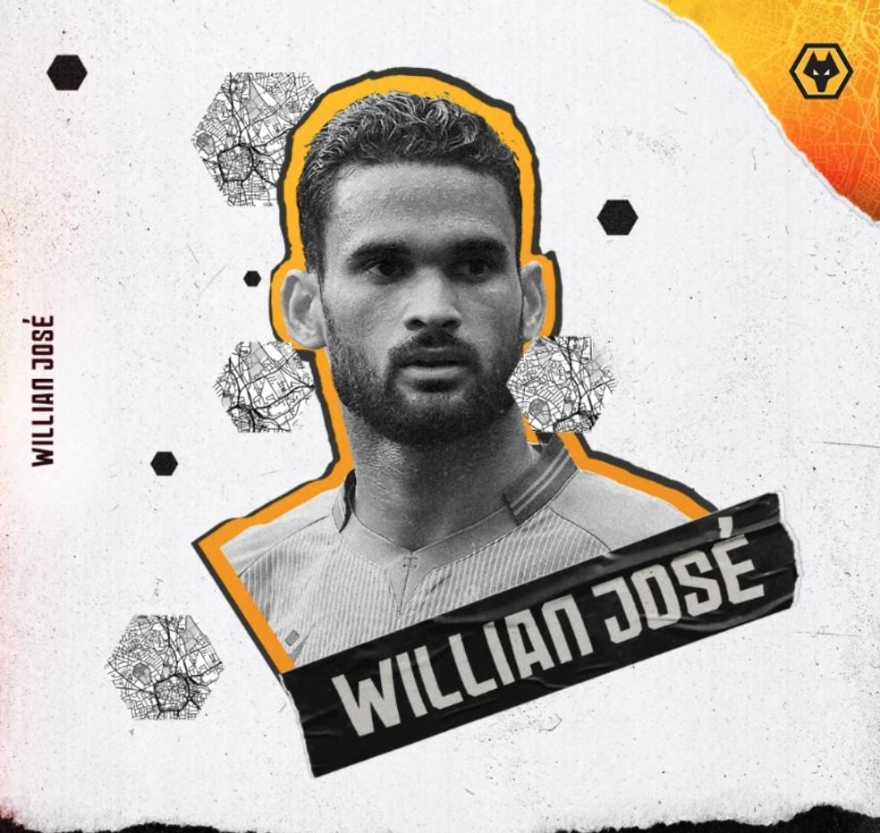 William José é anunciado como novo reforço do Wolverhampton — Foto: Reprodução / Twitter