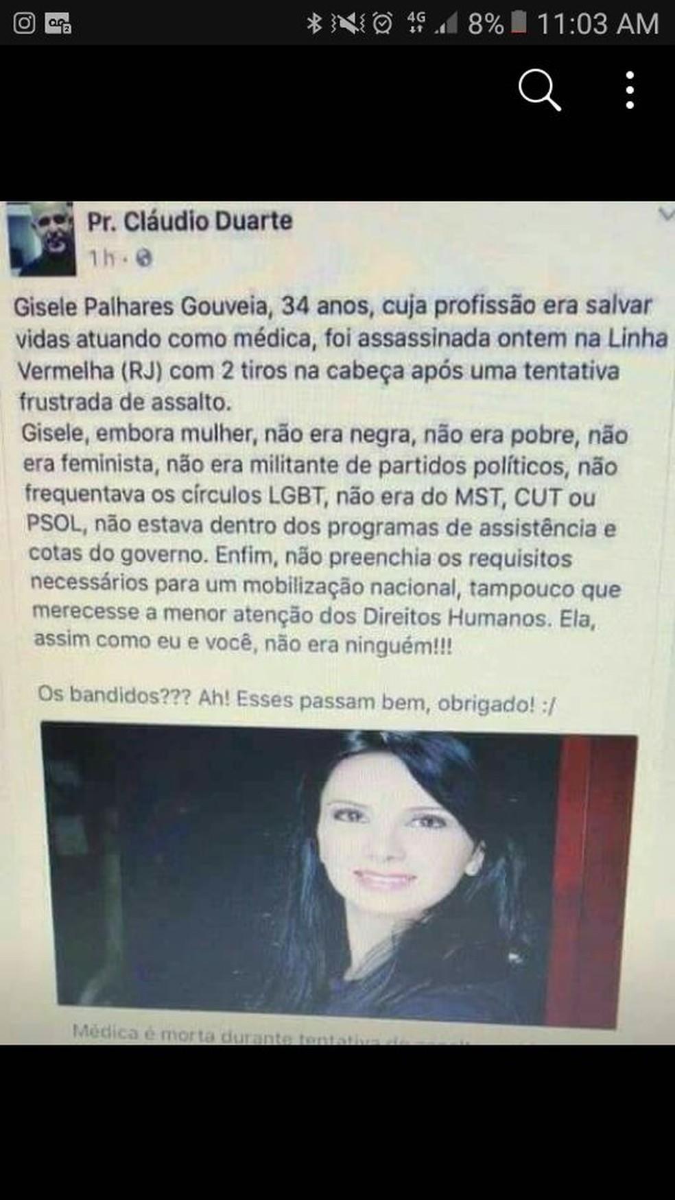 Mensagem compartilhada dá a entender que médica foi morta no mesmo dia de Marielle (Foto: Reprodução/Facebook)
