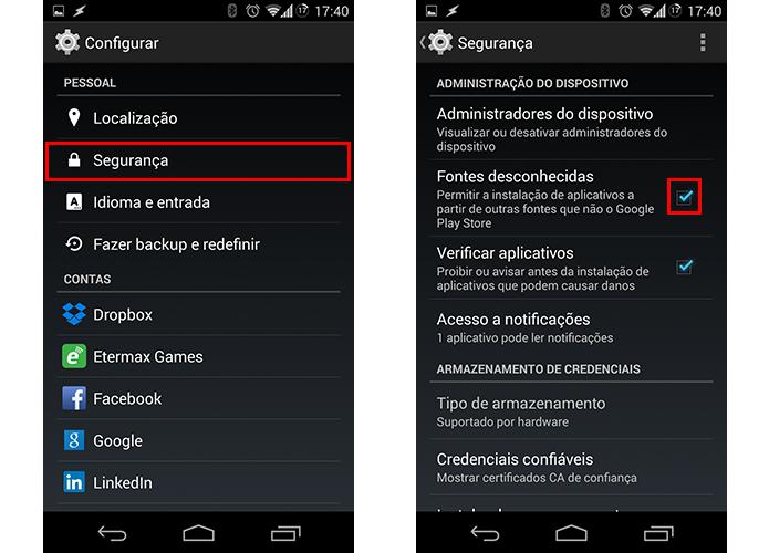 Libere a instalação de apps de fora da Play Store (Foto: Reprodução/Paulo Alves)