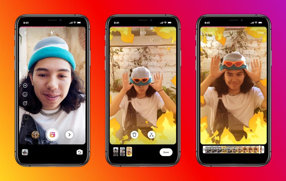 Nova interface para o corte de vídeos no Instagram Reels. — Foto: Divulgação/Instagram