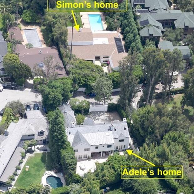 Mansão de R$ 43,7 milhões de Adele fica a poucos metros da do ex (Foto: Divulgação)