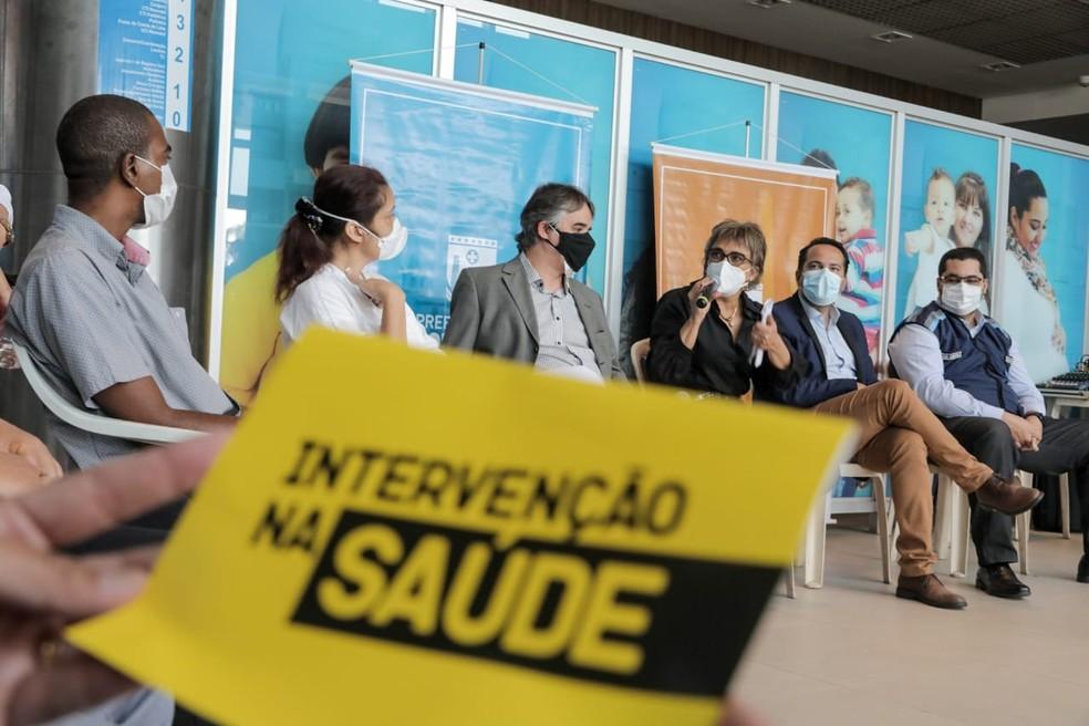 Prefeita de Contagem, Marília Campos (PT), se reuniu com secretariado nesta quarta-feira (9) — Foto: Janine Moraes/Prefeitura de Contagem