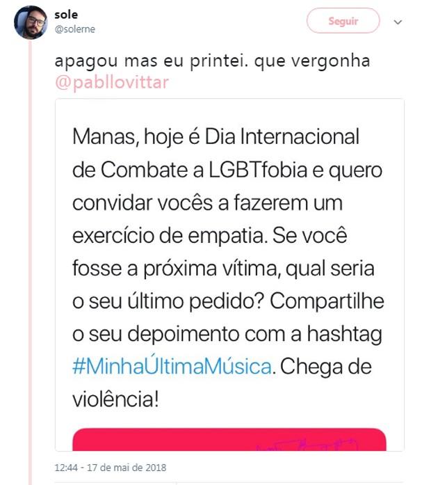 Comentário de internauta sobre Pabllo Vittar (Foto: Reprodução/Twitter)