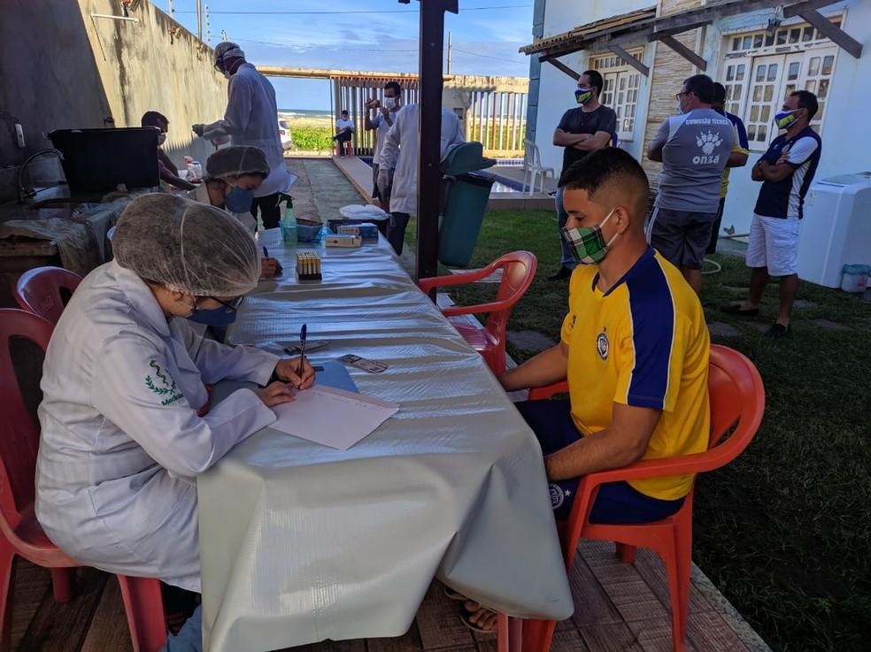 Freipaulistano faz testagem nos jogadores e comissão técnica para Covid-19 — Foto: Divulgação