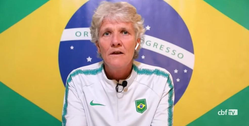 Pia Sundhage, técnica da seleção brasileira feminina — Foto: Reprodução