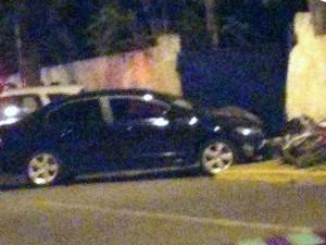 Mulher conduzia um Honda Civic, que bateu na motocicleta (Foto: Dimas Gonçalves Xavier Junior/Cedida)