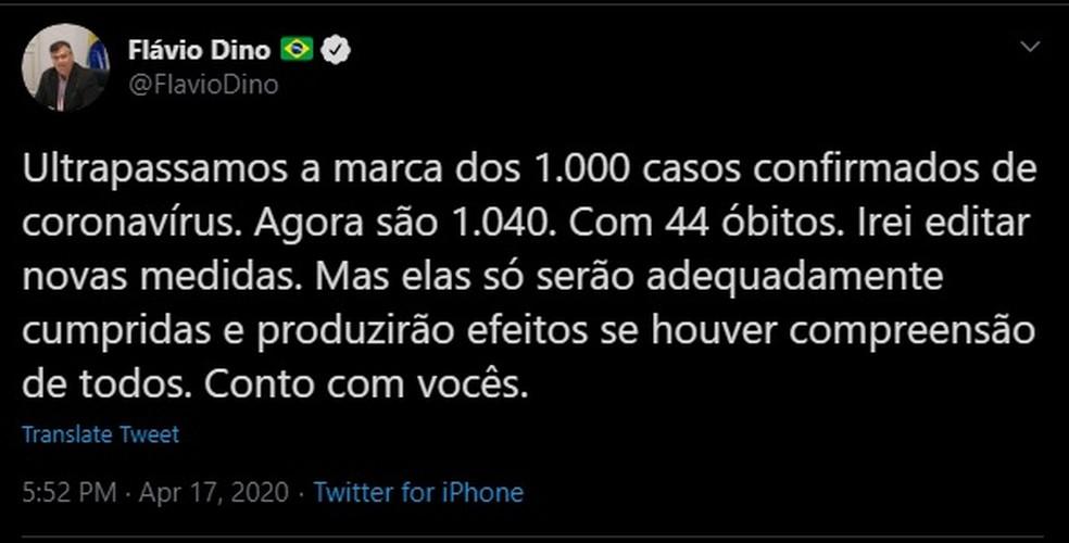 Governador do Maranhão, Flávio Dino (PCdoB), confirma que o estado ultrapassou a marca de mil casos do novo coronavírus. — Foto: Reprodução/Redes Sociais