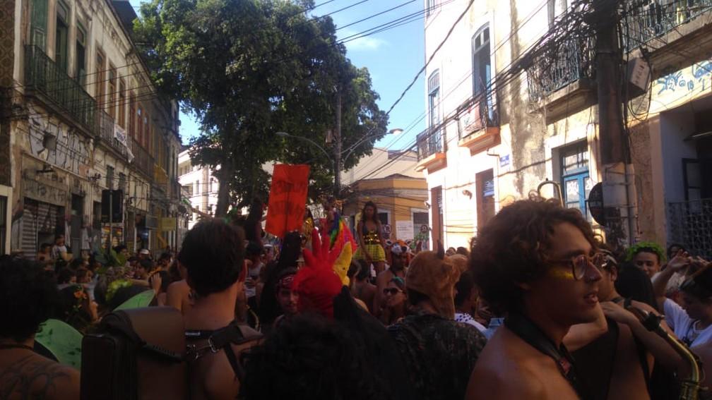 Bloco Filhotes Famintos na 'Abertura Não Oficial' do carnaval do Rio — Foto: João Ricardo Gonçalves/G1