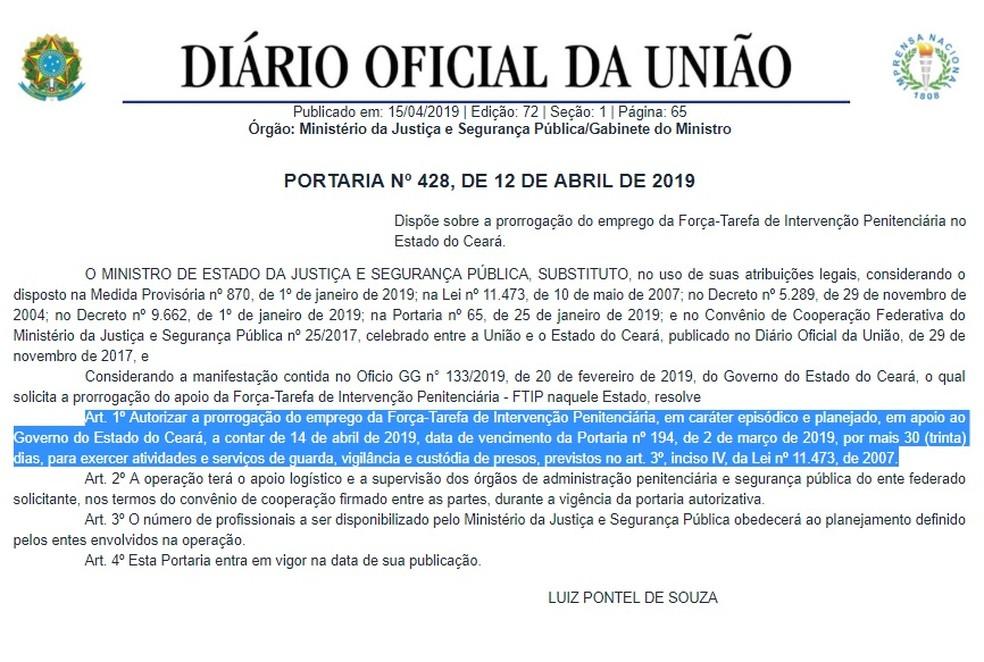 Prorrogação publicada no Diário Oficial da União — Foto: Reprodução/Governo Federal